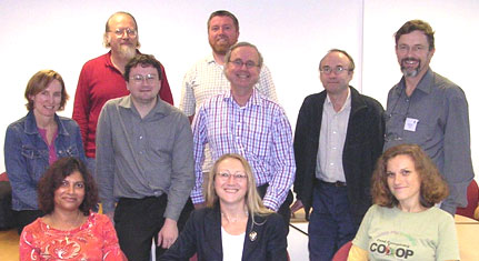 Photo (31KB): Colleagues from WP5 who attended the cluster meeting held in Bath on the 17 September 2004: Back row, left to right: Traugott Koch (Lund University), Les Carr (University of Southampton); Middle row, left to right: Jane Hunter (University of Queensland), Michael Day (UKOLN), David Alsmeyer (BT), Doug Tudhope (University of Glamorgan), Martin Doerr (ICS-FORTH); Front row, left to right: Manjula Patel (UKOLN), Liz Lyon (UKOLN), Koraljka Golub (Lund University).